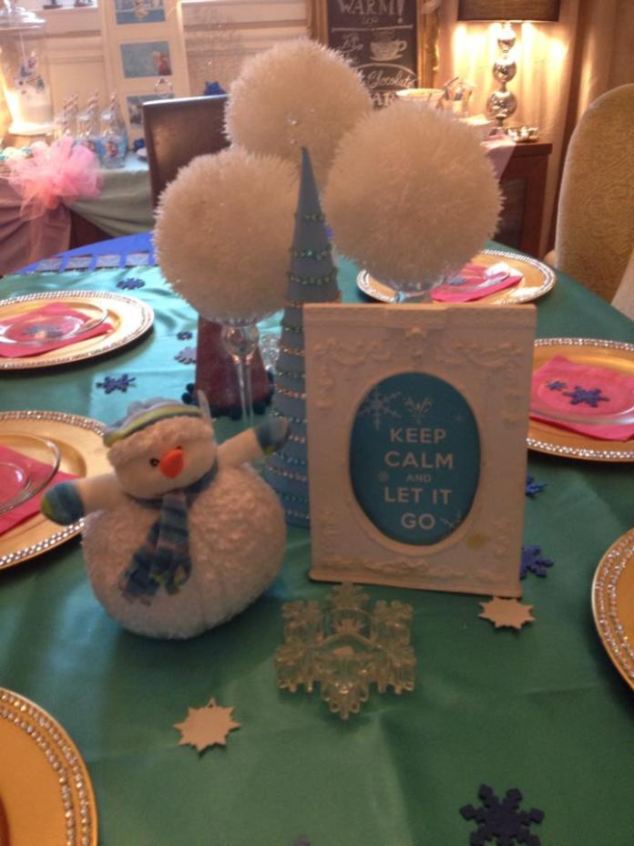 Love the sign. Also just printed out and popped into a pretty frame. The snowman was the prize for the winner of the Pin the Nose on Olaf game. I also love the white puff balls, as they look like snowballs (from the Dollar Store of course).