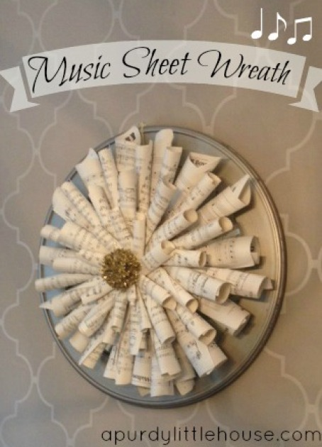 Music Sheet Wreath / Instructions on how to make a wreath using music sheets or book pages / apurdylittlehouse.com